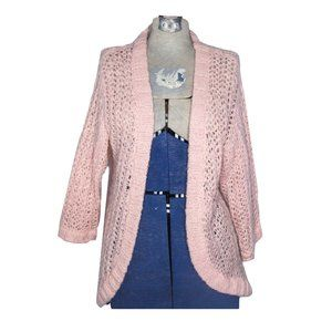 Frenchi Soft Chunky Knit Sweater Cardigan Pink Med
